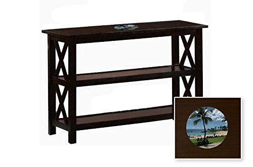 New Cappuccino / Espresso Finish Sofa Table with Shelves featuring a Hawaii Beach Logo by The Furniture Cove