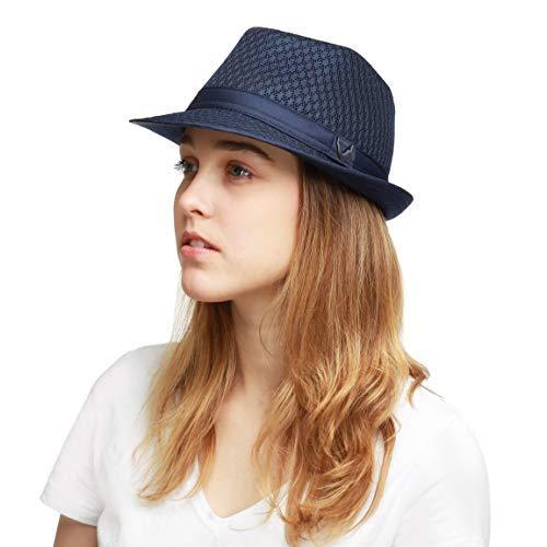 THE HAT DEPOT 200G1015 Classic Cool Soft Mesh Fedora hat (L/XL, Navy)