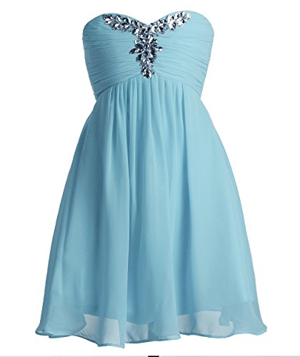 Fairytale Dresses For Kids (FAIRY COUPLE Big Girl's Sweetheart Short Flower Girl Dress with Rhinestone K0091 12 Light Sky Blue)