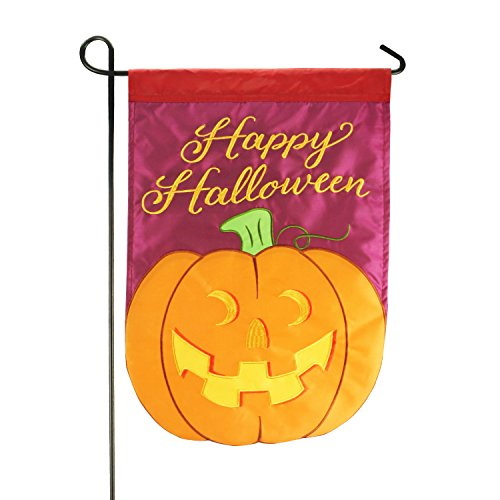 LAYOER Home Garden Flag 13 x 18 Inch Happy Halloween Pumpkin Doule-Sided Applique 12x18 -