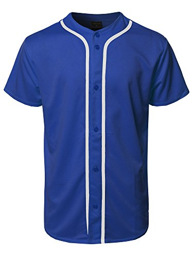Royal Blue Jersey - Youstar Solid Front Button Closure Athletic Baseball Inspired Jersey Top Royal Blue 2XL