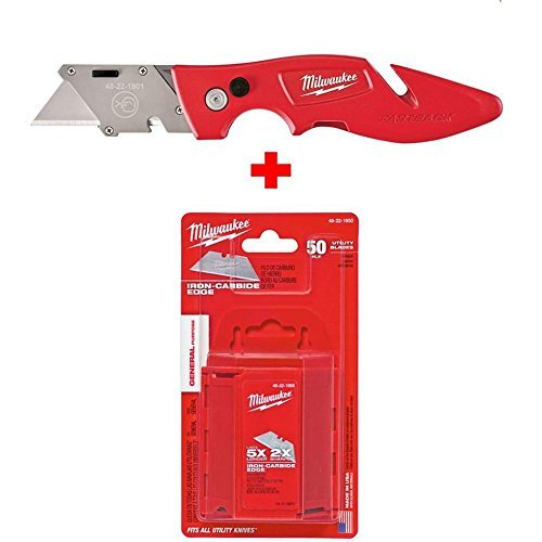 Milwaukee 48-22-1902 Fastback Flip Utility Knife and 48-22-1950 General Purpose Utility Blades with Dispenser (50-Blades Included)