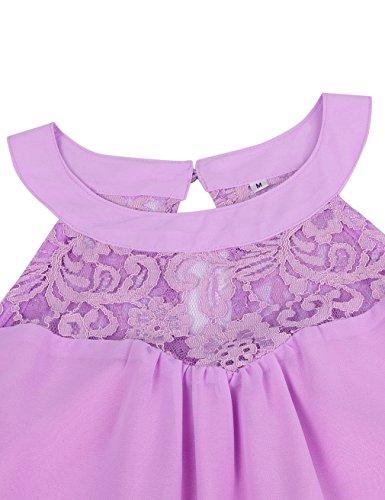Sundress Short Dress Women's Swing Halter Faddare Pleated Chiffon Purple Neck FZPB1wZqa