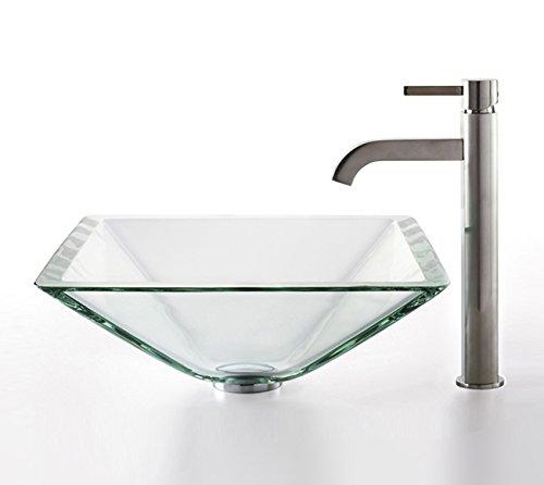Kraus C-GVS-901-19mm-1007SN Clear Aquamarine Glass Vessel Sink and Ramus Faucet Satin Nickel