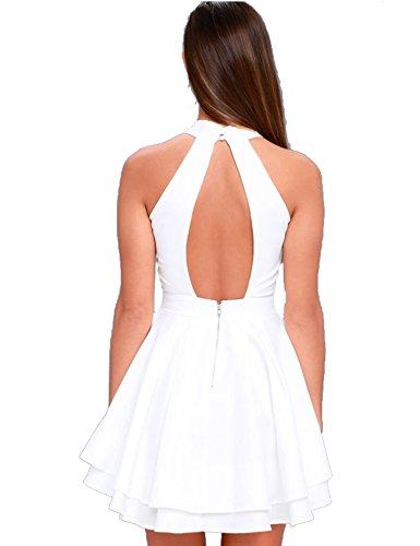 Women's Swing Dress Sleeveless Halter Neck A-line Pleated Cocktail Mini Dress (XL, (Womens Mini Day Dress)