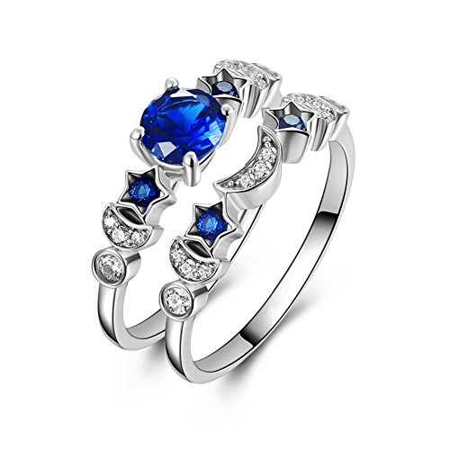 Veunora 925 Sterling Silver Plated Created Sapphire Quartz Moon and Star Engagement Band Ring Set for (Moon Ring Jewelry)