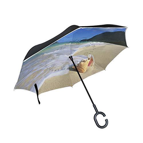 Reverse Umbrella Hawaii Sea-Shells Windproof Anti-UV for Car Outdoor Use