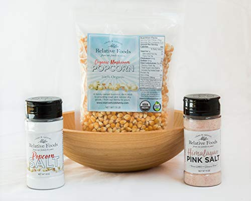Gourmet Popcorn Gift Set- Great addition to family movie night -includes wooden bowl made in the USA - 1.5 pounds of organic popcorn - premium Himalayan pink salt and traditional popcorn salt.