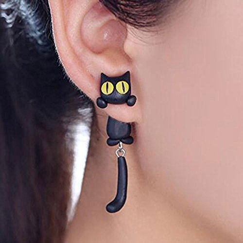 BigNoseDeer Cat Women Polymer Clay Stud Earrings jewellery,3D animal Handmade earring for mens girls kids (Black)