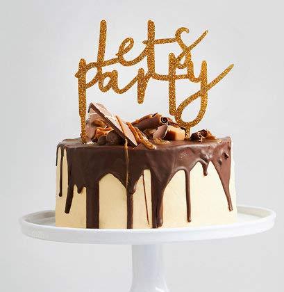 Decoración dorada para tarta de fiesta con purpurina dorada ...