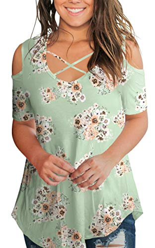 Green Shirts for Women Summer Floral Cold Shoulder Tops Criss Cross Color Block Tunic Blouse L