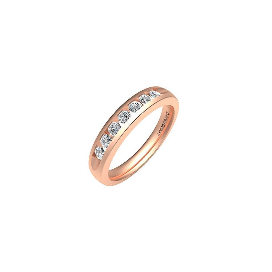 IGI Certified 14K Gold 7 Stone Channel Set Wedding/Anniversary Diamond Band Ring (1/3 Carat)