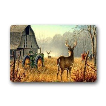 Custom cool ancient tractor and cute deer Welcome Door Mat Rug Indoor/Outdoor Mats Welcome Doormat Decor Rug 23.6