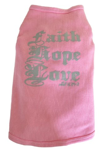 Ruff Ruff and Meow Dog Tank Top, Faith Hope Love, Pink, Extra-Small -