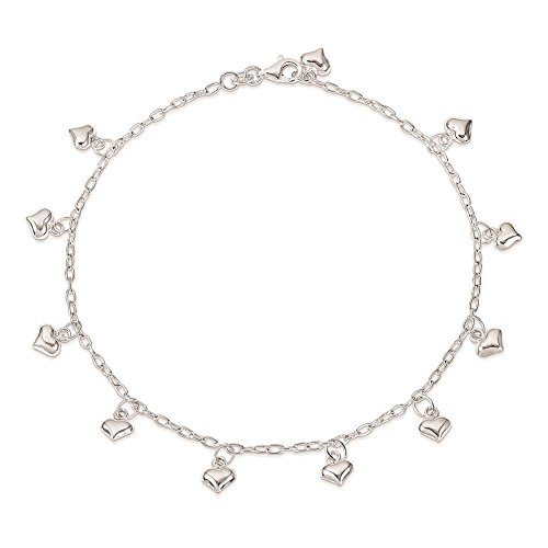 925 Sterling Silver Polished Link w/ Puffed Heart Bracelet Anklet 10 -