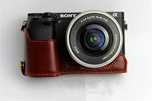Hwota Handmade Genuine Real Leather Half Camera Case Bag Cover for Sony Alpha A6000 A6300 Bottom Opening Version + Free Leather Hand Strap -Coffee