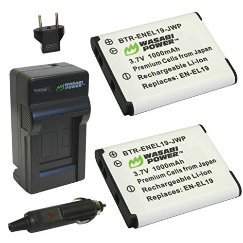 Wasabi Power Battery (2-Pack) and Charger for Nikon EN-EL19