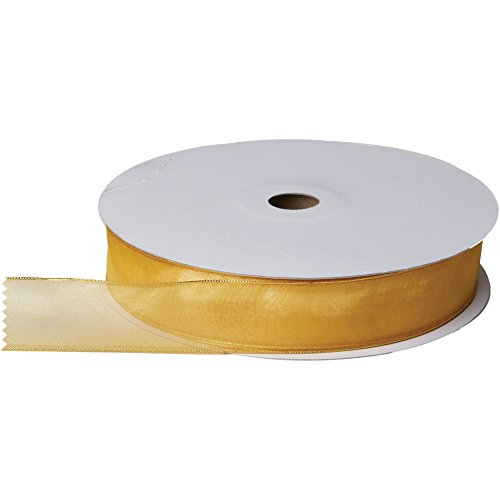 Jillson & Roberts Organdy Sheer Wired Metallic Edge Ribbon, 1 3/8'' Wide x 100 Yards, Gold/Gold by Jillson Roberts