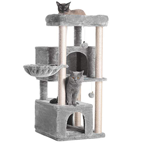 Hey-brother Multi-Level Cat Tree Condo Furniture with Sisal-Covered Scratching Posts, 2 Plush Condos, Plush Perches, for…