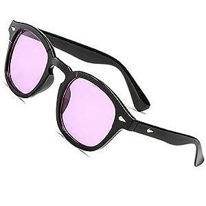 SHEEN KELLY Occhiali da sole stile mod uomo donna VINTAGE unisex rotondi lente blu colorate 17