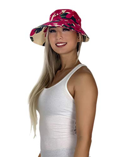 Tropical Hawaiian Floral Print Visor Sun Hat (Floral Cream/Pink)