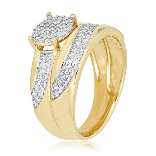 10k Gold Pave Set - 10K Yellow Gold Pave Simulated Diamond CZ Anniversary Bridal Engagement Wedding Band Ring Set