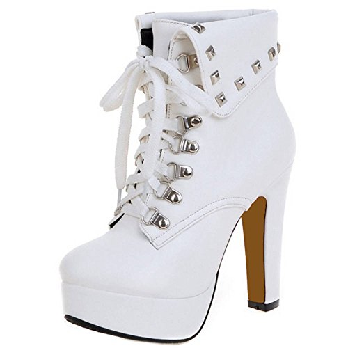 SJJH Women Martin Boots with High Heel and Thick Platform Lace up Ankle Boots with Small/Large White