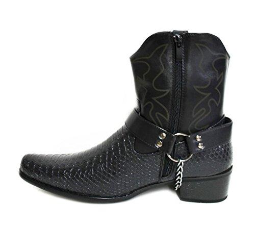 Shoelace Mens Faux Leather Western Cowboy Biker Ankle Boots With Buckle Design (Japan) Black I3xBMdRR