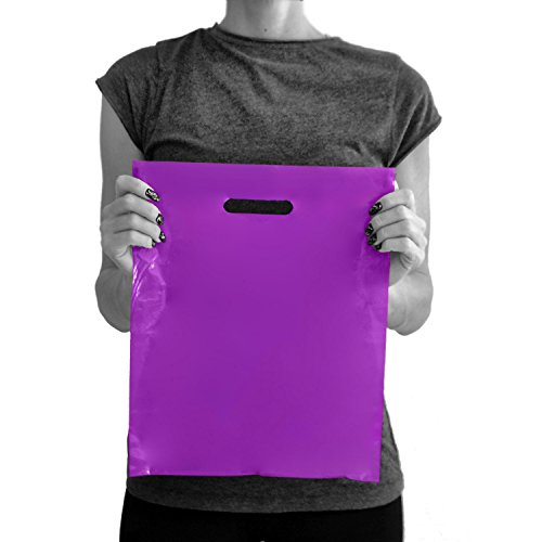 (200 Purple Merchandise Bags 12x15 - 1.50 mil Extra Thick LDPE - Glossy Shopping Plastic Bag Bulk with Die Cut Handle - Medium Size - 100% Recyclable - TOP RATED)