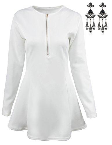 MODETREND Mujer Elegante Vestidos Manga 3/4 con Cremallera Deep V-Neck Vestidos A-Line de Coctel Fiesta Mini Dress Blanco