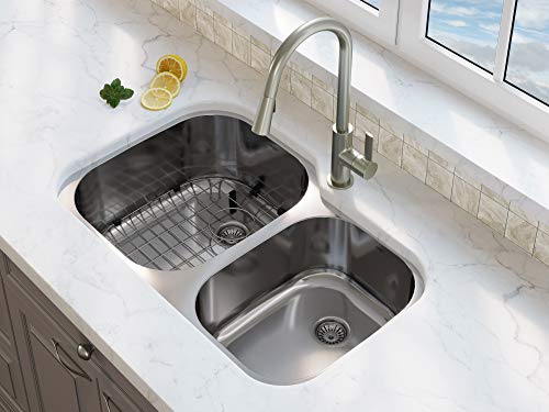 - Ancona AN-3215 Capri Series Undermount Stainless Steel 32 in. 60/40 Double Basin Kitchen Sink in Satin Finish with Grid and Strainers,
