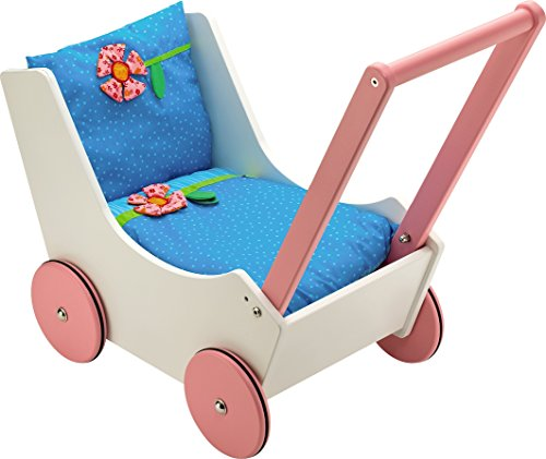 y Wooden Doll Pram with Bedding & Adjustable Handle ()