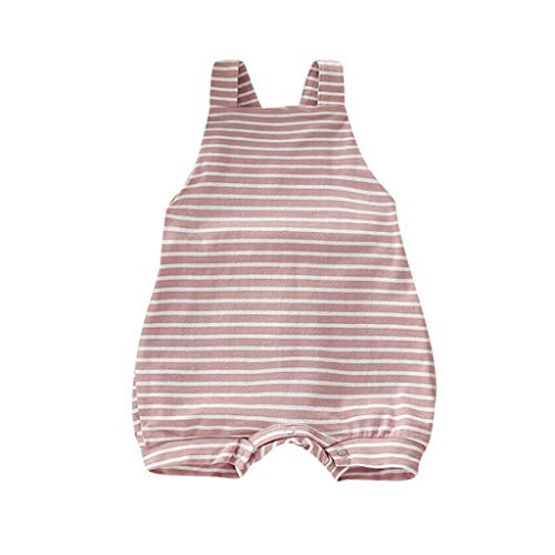 Newborn Kids Romper Jumpsuit,Crytech Soft Cotton Sleeveless Backless Ruffle Bib Pants Overalls Bodysuit Outfit Drawstring Stripe Sunsuit Clothes for Infant Toddler Baby Boy Girl (18-24 Months, Pink)