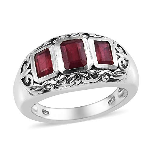 9k Designer Bracelet - Octagon Ruby Promise Ring 925 Sterling Silver Jewelry for Women Size 9 Ct 2.7