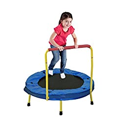 "Mini Trampoline | 36"" Foldable Jumping Trampoline With Yellow Safety Handles 