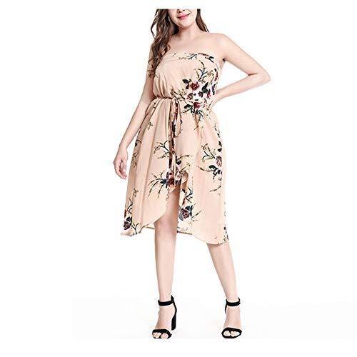 Isbxn Vestido Elegante del Temperamento de la impresión de la Flor del tamaño Extra Grande Mujeres (Color : Rice Color, Size : L) Rice Color