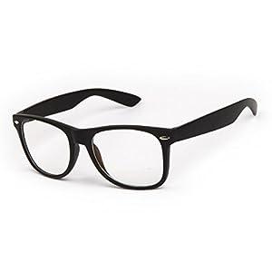 Vintage Unisex Non-prescription Wayfarer Glasses Matte Black Frame Clear Lens Anti Blue Light