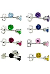 8 Pairs Set Sterling Silver 4mm Color Cz Stud Earrings Light Blue Purple Green Blue Red Pink Black Yellow