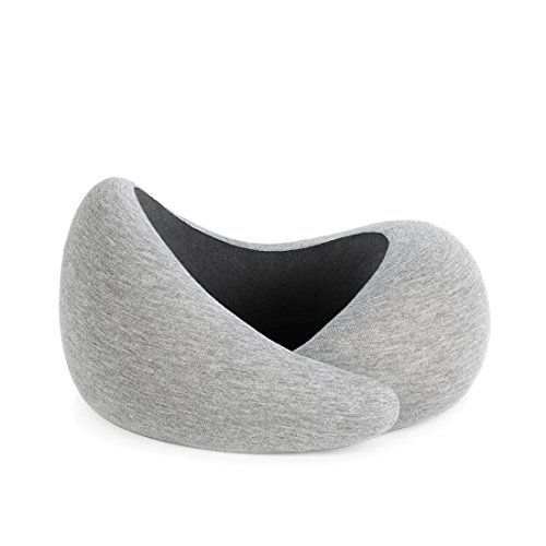 OSTRICHPILLOW GO Travel Pillow with Memory Foam for Airplanes, Car, Neck Support for Flying, Power Nap Pillow, Travel Accessories for Women and Men, Midnight Grey