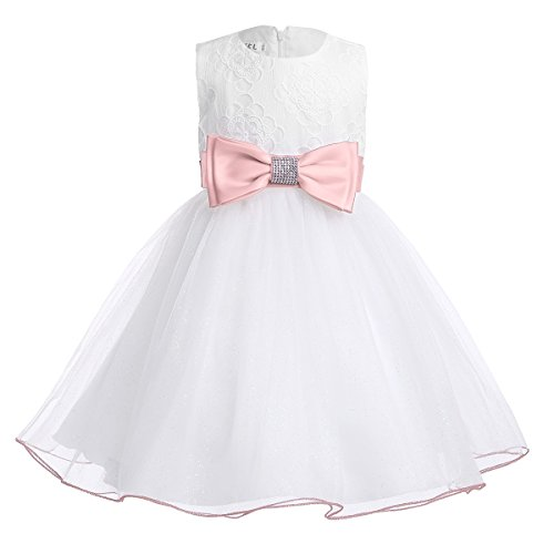 iEFiEL Infant Baby Girls Mesh Bow Flower Girl Christening First Communion Pageant Tutu Dress Pearl Pink 12-18 (Gliter Flower)