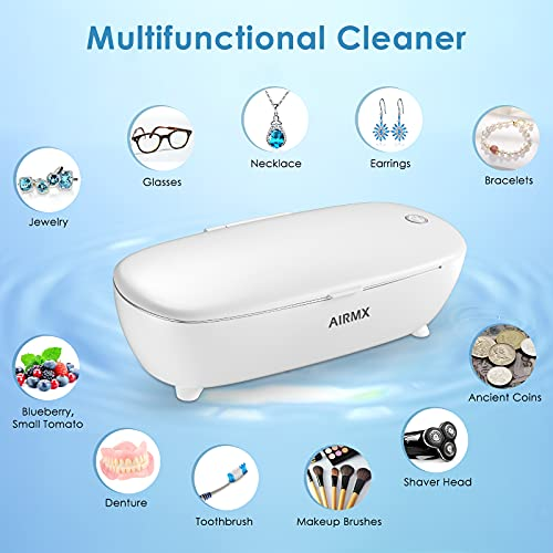 AIRMX Ultrasonic Jewelry Cleaner Portable - Low Noise Ultrasonic Machine for Jewelry, Ring, Silver, Retainer, Eyeglass, Watches, Coins, 450ML, 46KHz Ultrasound Cleaner Machine (White)
