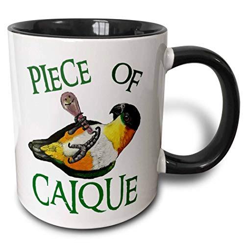 3dRose Skye Elizabeth Designs - Black Headed Caique with rattle - 15oz Mug (mug_308314_2)