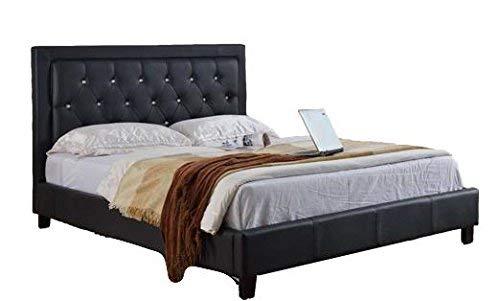 Milton Greens Stars 7518BK-CK Stacey PU Platform Bed with Diamond Headboard California ()