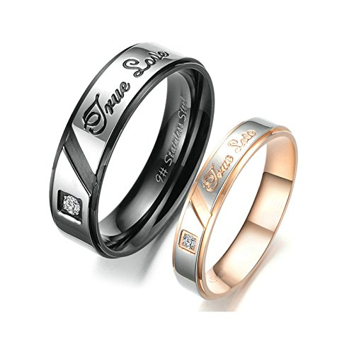 ANAZOZ 2PCS Wedding Ring Set Stainless Steel True Love Cubic Zirconia Engagement Bands Women Size 5 & Men Size -