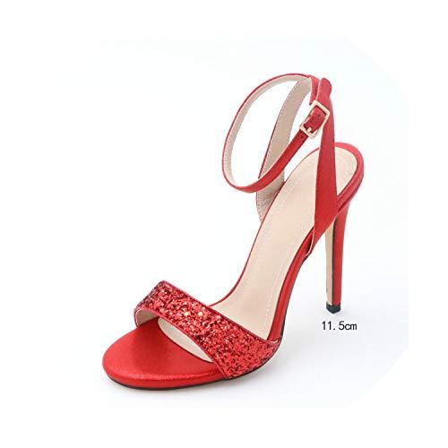 Sexy Women Shoes Platform Thin High Heel All Match Women Sandals Party,Red 11.5cm,5