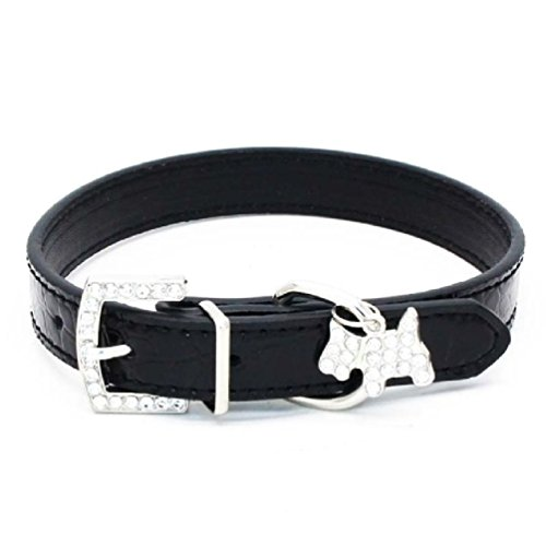 Inteeon Pet Series 1PCS Crystal Pendant Pet Dog Collar Puppy Cat Leads Neck Strap PU ()