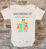 Your Christmas Gift Will Be Delivered Pregnancy Reveal Onesie®, Reveal to Grandparents, Pregnancy Announcement, Coming Soon Onesie