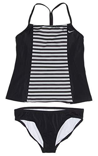 Nike Women's Tankini Athletic 2-Piece Swimsuit (Large, Grey/Black/Black) (Triathlon Tankini)
