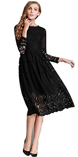 MoonlightCity Women Spring Autumn Bohemian Hollow Long-sleeved Lace Dress