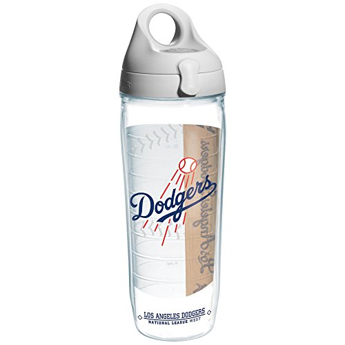 "Tervis 1130580 ""MLB La Dodgers"" Water Bottle with Grey Lid, Wrap, 24 oz, Clear"